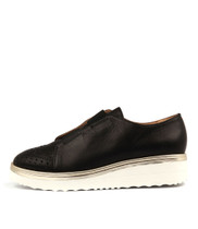 PELSOM Flatform Sneakers in Black Leather