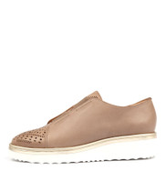 PELSOM Flatform Sneakers in Taupe Leather