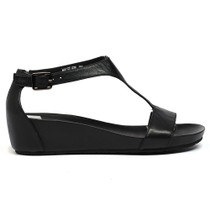 Weslee Wedge T-Bar Sandals in Black Leather