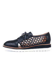 NOLANA Flatforms in Navy Crackle Leather