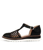 NESENTI Flatforms in Black Crackle Leather