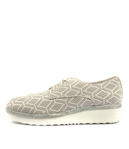 MERFECT Flatforms in White Punch Leather
