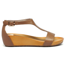Weslee Wedge T-Bar Sandals in Taupe Leather
