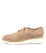 MERFECT Flatforms in Latte Punch Leather