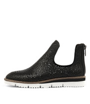 WESTERN Flatforms in Black Punch Leather