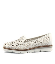 WENONA Flatforms in White Punch Leather