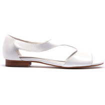 Pamaya Flat Sandals in White Patent Leather