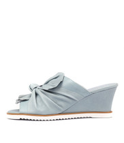 UTILITY Wedge Sandals in Pale Blue Leather
