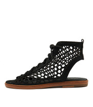 NIFTY Sandals in Black Crackle Leather