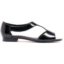 Pamaya Flat Sandals in Black Patent Leather