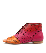 PITLIV Flats in Orange/ Fuchsia Leather
