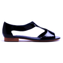 Pamaya Flat Sandals in Navy Patent Leather