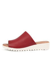 MERRIES Flatform Sandals in Red Leather