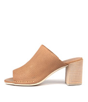 DARLENE Heeled Sandals in Light Tan Leather