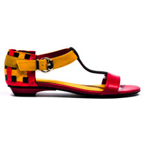Lempre Flat Sandals in Red Multi Leather