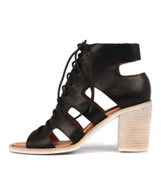 TITAN Heeled Sandals in Black Leather