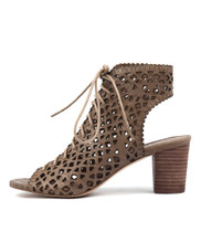 CATCHY Heeled Sandals in Taupe Leather