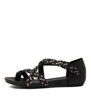 GAMASI Sandals in Black/ Pewter Leather