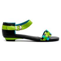 Lemes Flat Sandals in Aqua Multi Leather