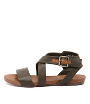 JOBBY Sandals in Dark Olive Leather