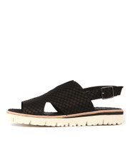 TANDOS Sandals in Black Cut Leather