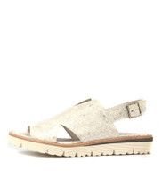 TANDOS Sandals in White/ Silver Cut Leather