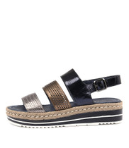 AKIDNA Flatform Sandals in Navy/ Bronze Leather