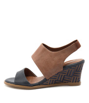 UNDEZ Wedge Sandals in Navy/ Tan Leather