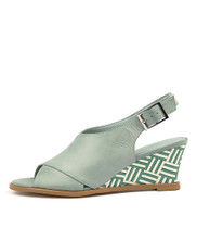 ULOHIN Wedge Sandals in Pale Aqua Leather
