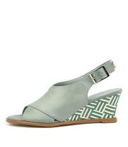 ULOHIN Wedge Sandals in Pale Aqua Leather