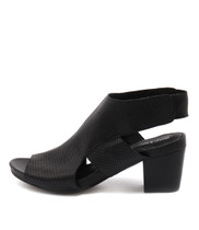 ZENI Heeled Sandals in Black Leather