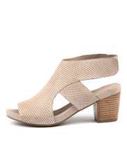 ZENI Heeled Sandals in Beige Leather