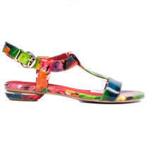 Identity Flat Sandals in Bright Floral Leather