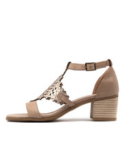 DADAMI Heeled Sandals in Latte/ Champagne Leather