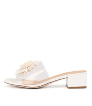 RICED Heeled Sandals in Clear Vinylite/ White Leather