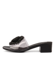 RICED Heeled Sandals in Smoke Vinylite/ Black Leather