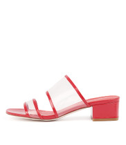 RESSEN Heeled Sandals in Clear Vinylite/ Red Patent Leather