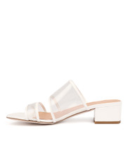 RESSEN Heeled Sandals in Clear Vinylite/ White Patent Leather