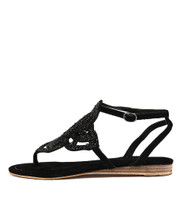 407 Sandals in Black Suede