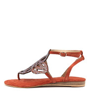 407 Sandals in Coral Leather