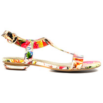 Identity Flat Sandals in Bright Newspaper Print Leather