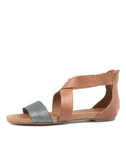 JAPTER Sandals in Steel/ Tan Leather