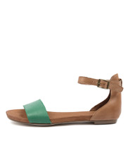 JEMILA Sandals in Emerald/ Tan Leather