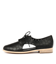 ALPS Lace-up Flats in Black Leather