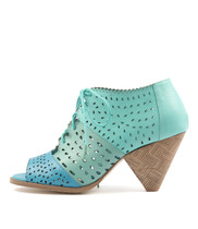 OCEANSH Heeled Sandals in Aqua/ Mint/ Sea Leather