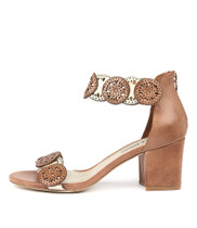 LEGRA Heeled Sandals in Tan/ Pale Gold Leather
