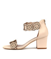 LEGRA Heeled Sandals in Beige/ Rose Gold Leather