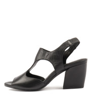 PRANK Heeled Sandals in Black Leather