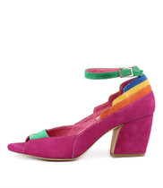 PRESSIE High Heels in Bright Multi Suede