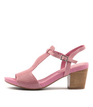 ZARKA Heeled Sandals in Pink Leather